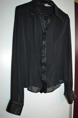 Schwarze transparente Bluse aus Seide Gr. 42 D&G Vintage?
