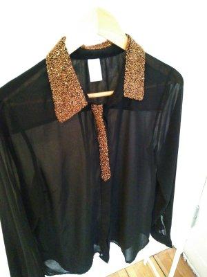 Schwarze transparente Bluse mit Perlenkragen