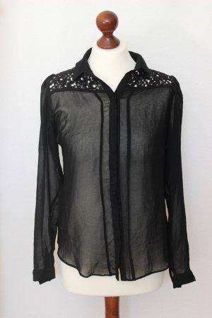 Schwarze transparente Bluse Spitze Primark 40 M schick