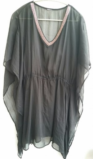 Schwarze transparente Chiffon Tunika Bluse Gr. L