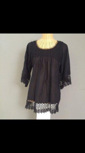 Schwarze Tunika aus Seide von hallhuber