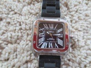 schwarze Uhr mit Kautschuk Band