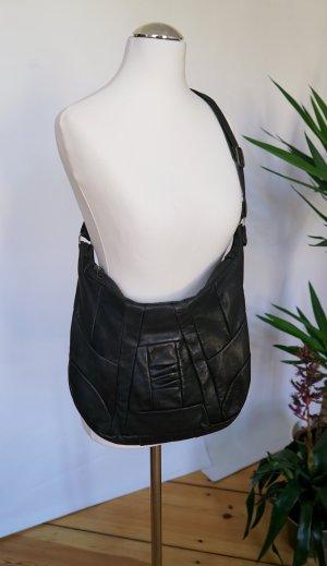 Schwarze Umhängetasche aus Echtleder
