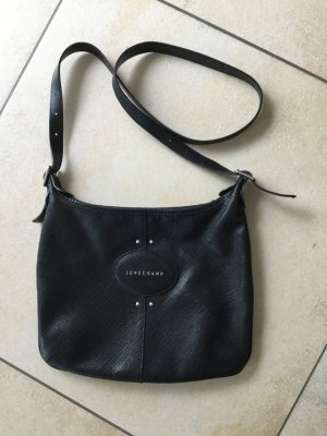 schwarze Umhängetasche crossbody Longchamp Leder