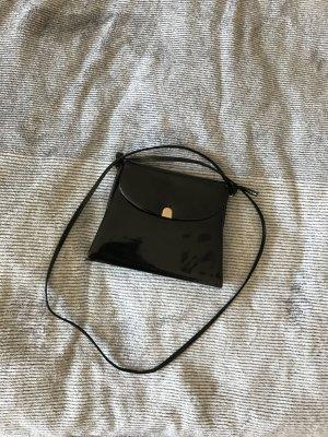 Schwarze Umhängetasche, Lack, Abendtasche, Vintage