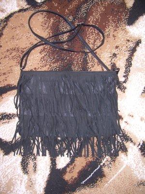 schwarze Umhängetasche mit Fransen Handtasche Crossbody Bag
