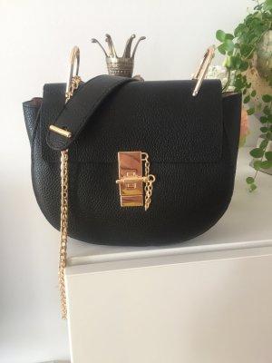 Schwarze Umhängetasche Tasche Gold NEU