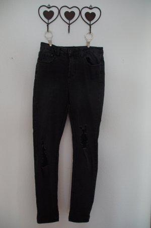 schwarze used-look Jeans
