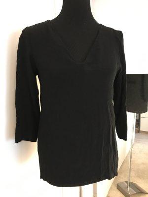 Schwarze V-Ausschnitt Bluse / Shirt