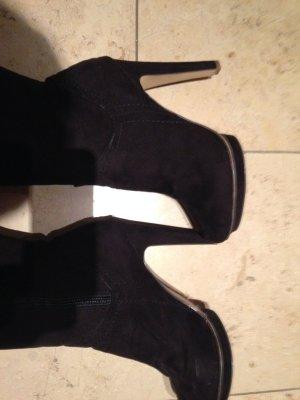 Schwarze Velours-Stiefel High Heel Größe 39