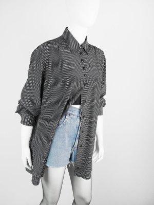 Schwarze Vintage Bluse im Punkte-Dessin