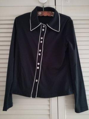 Schwarze Vintage-Bluse mit weißen Knöpfen