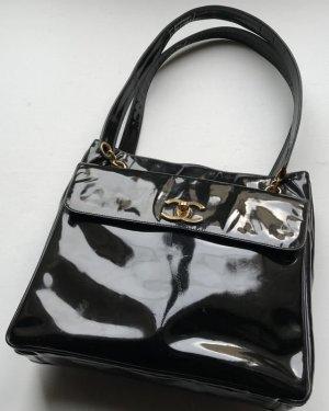 Schwarze Vintage Chanel Tasche Lack