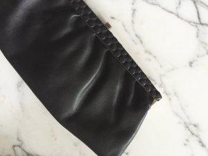 Schwarze Vintage Clutch aus echtem Leder