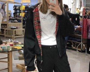 Urban Outfitters Kort jack zwart-rood