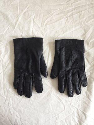 Schwarze Vintage Leder Handschuhe / Bikerhandschuhe