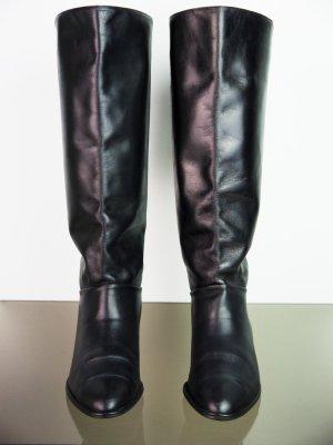 Schwarze Vintage Leder Schnürstiefel