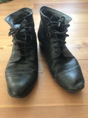 Schwarze Vintage Leder Stiefeletten 42