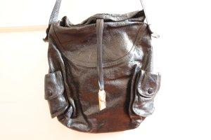 Schwarze Vintage-Lederhandtasche