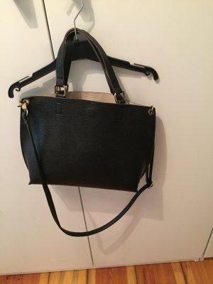 Schwarze Vintage Lederhandtasche mit herausnehmbarer Innentasche