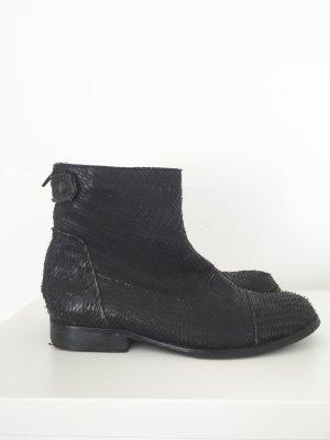 Schwarze  Vintage Stiefeletten mit strukturierter Oberfläche