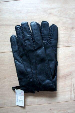 schwarze Vintagelederhandschuhe (neu)