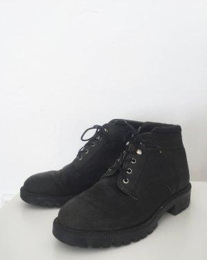 Schwarze Wanderschuhe / herbstliche Schuhe aus Echtleder