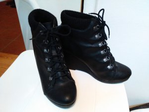 Schwarze Wedges Schnürstiefel Stiefel wie neu!