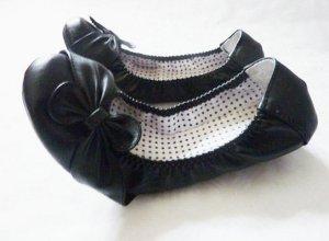 schwarze weiche Leder Ballerina mit Schleife 39