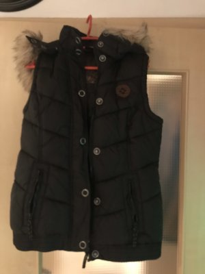 Hooded Vest black-brown