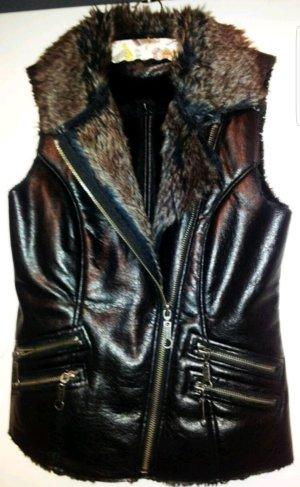 Blind Date Vest van imitatiebont zwart-bruin