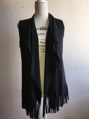 Fringed Vest black