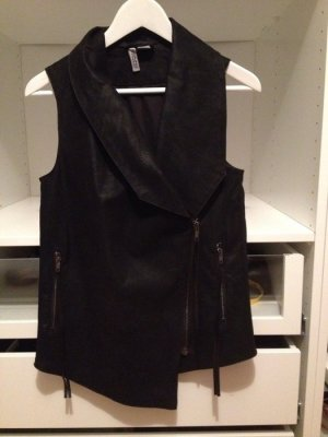 H&M Leather Vest black imitation leather