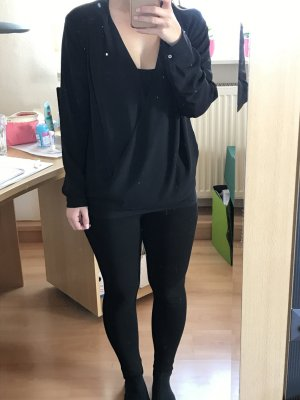 schwarze Wickelbluse