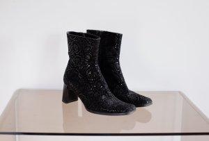schwarze wildleder ankle boots ornamentmuster blockabsatz 38