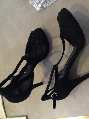 Schwarze Wildleder Sandalette
