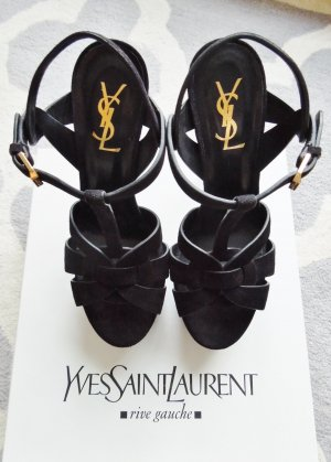 Schwarze Wildleder Yves Saint Laurent Tribute Sandals High Heels