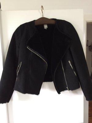 Schwarze Wildlederjacke Zara