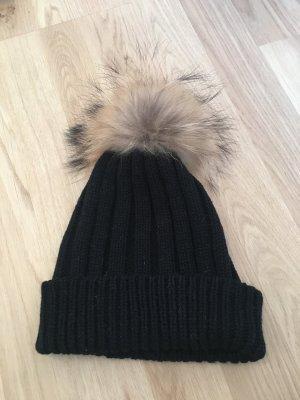 Schwarze winterliche Pudelmütze - Hallhuber!!!