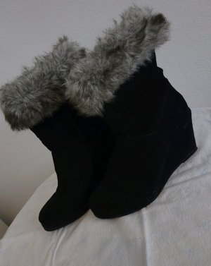 Graceland Fur Boots black-grey