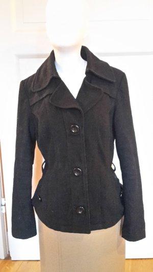 Schwarze Woll-Winterjacke