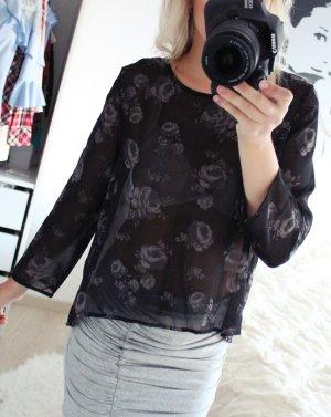 Schwarze Zara Bluse mit Rosenaufdruck 34/XS
