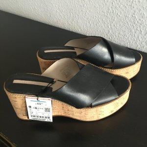 Schwarze Zara Echt Leder Plateau Schuhe