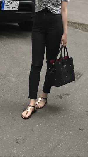 Schwarze Zerissen Gläntzende Hose Gr 26