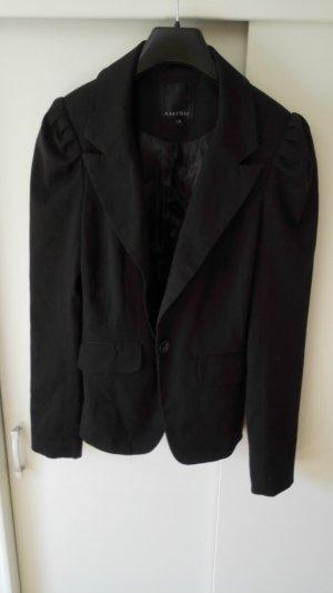 Schwarzer Blazer Amisu mit gerüschten Schultern Größe 36 S