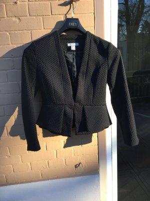 Schwarzer Blazer Jacke tailliert schöner Stoff Muster Business