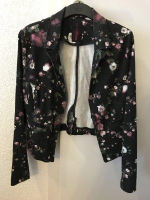 Schwarzer Blazer mit Blumenmuster