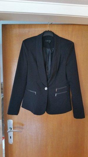 Schwarzer Blazer mit Reißverschlusstaschen