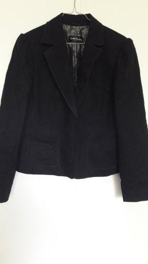 Schwarzer Blazer Wolle Filzoptik mit Perlenstickerei Gr. 40