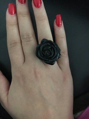 Schwarzer Blümchen Ring Gr M/L